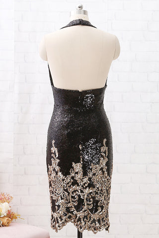 MACloth Halter V Neck Sequin Open Back Black Cocktail Dress Short Party Dress Lily