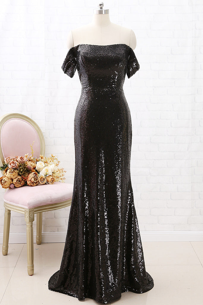 MACloth Off the Shoulder Mermaid Sequin Long Prom Dress Black Formal Evening Gown