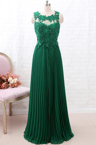 MACloth Vintage Lace Chiffon Open Back Green Long Bridesmaid Dress Formal Prom Gown