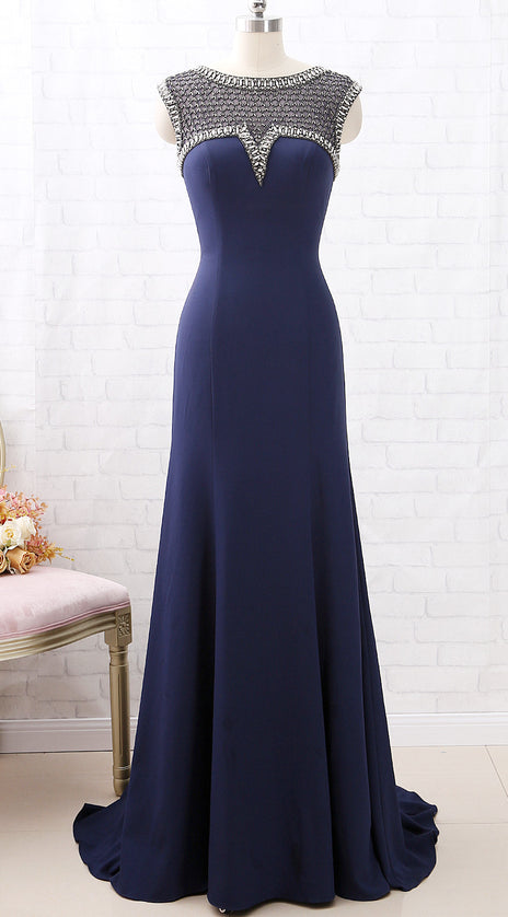 MACloth Cap Sleeves Beaded Long Mother of the Brides Dress Dark Navy Formal Evening Gown