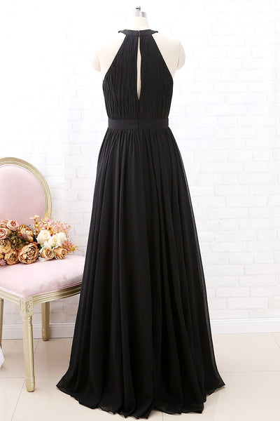 MACloth Halter O Neck Chiffon Long Bridesmaid Dress Black Formal Evening Gown