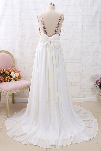 MACloth Straps V Neck Sequin Chiffon Long Prom Dress Rose Gold Formal Evening Gown