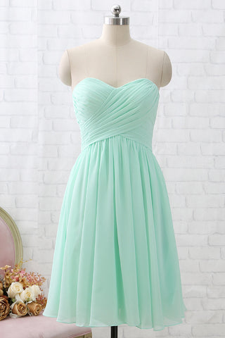MACloth Strapless Sweetheart Knee Length Mint Bridesmaid Dress Short Formal Party Dress