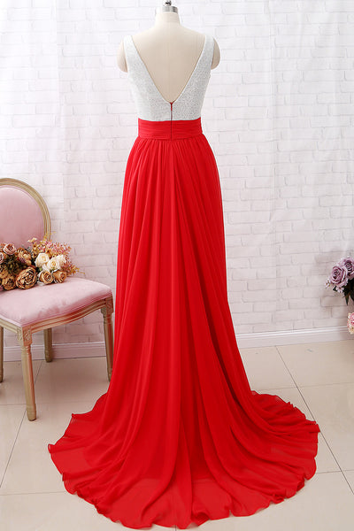 MACloth Straps V neck Red Long Prom Dress Chiffon Formal Evening Gown