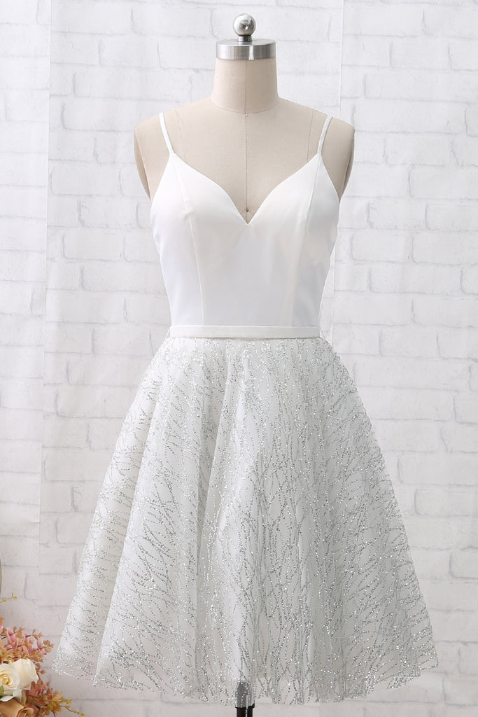 MACloth Straps V Neck White Mini Prom Homecoming Dress Cocktail Party Dress
