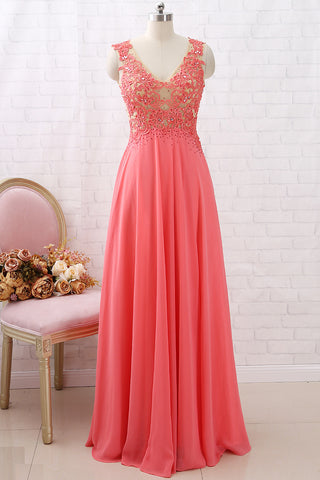 MACloth V Neck Chiffon Lace Coral Long Prom Dress Vintage Formal Evening Gown