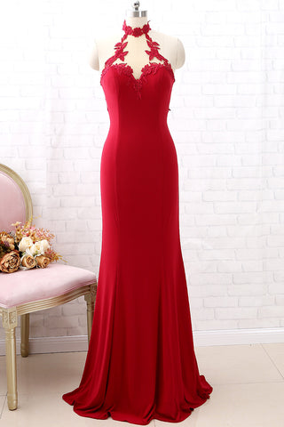 MACloth High Neck Mermaid Burgundy Long Prom Dress Jersey Formal Evening Gown