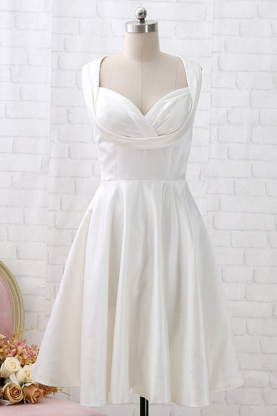 MACloth Straps Knee Length Vintage Ivory Cocktail Party Dress