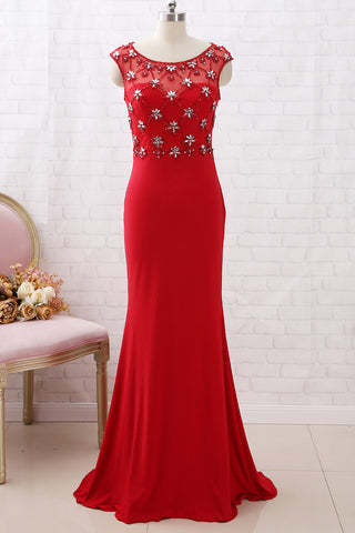 MACloth Cap Sleeves Sheath Beaded Long Prom Dress Red Formal Evening Gown