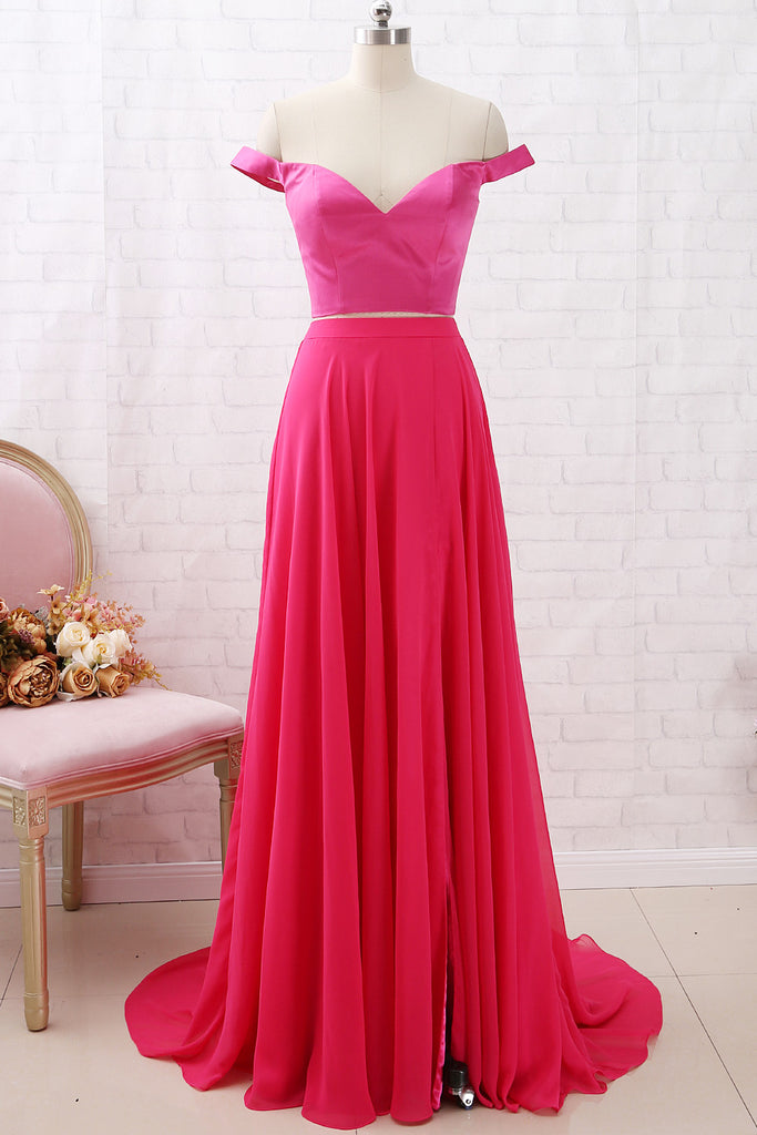 MACloth Off the Shoulder Two Piece Hot Pink Prom Dress Chiffon Formal Dress