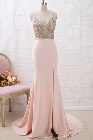 MACloth Deep V Neck Mermaid Pink Prom Dress with Slit Formal Evening Gown