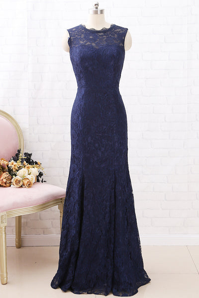 MACloth Mermaid Lace Long Bridesmaid Dress Dark Navy Formal Evening Gown