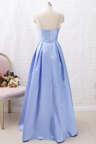 MACloth Spaghetti Straps Long Satin Prom Dress Sky Blue Formal Evening Gown