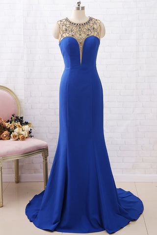 MACloth Mermaid Crystals Long Prom Dress Royal Blue Formal Evening Gown
