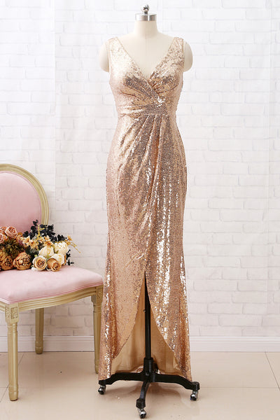 MACloth Straps V Neck High Low Sequin Bridesmaid Dress Simple Formal Evening Gown