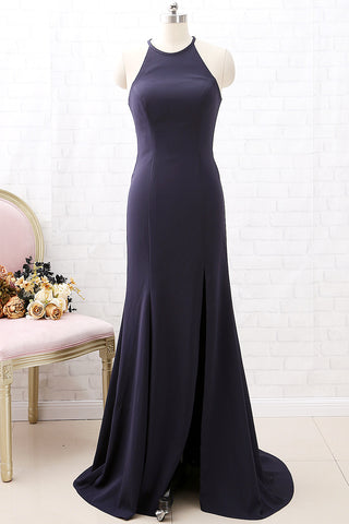 MACloth Halter O Neck Dark Navy Formal Evening Gown with Slit Simple Prom Dress
