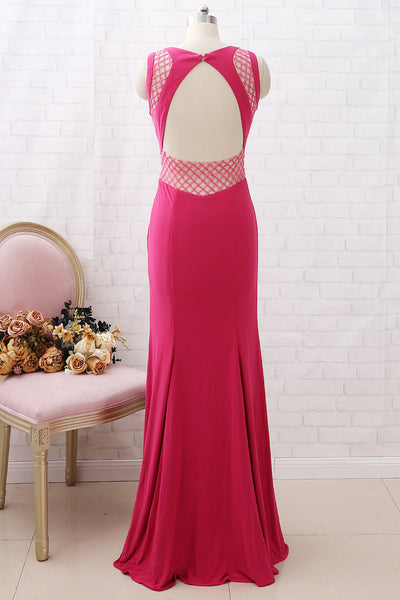 MACloth Sheath Beaded Jersey Long Prom Dress Fuchsia Formal Evening Gown with Open Back