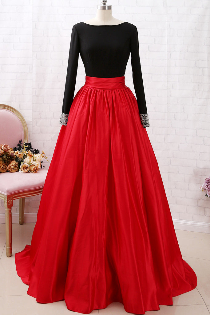 MACloth Long Sleeves Beaded Black Red Ball Gown Prom Dress Formal Evening Gown