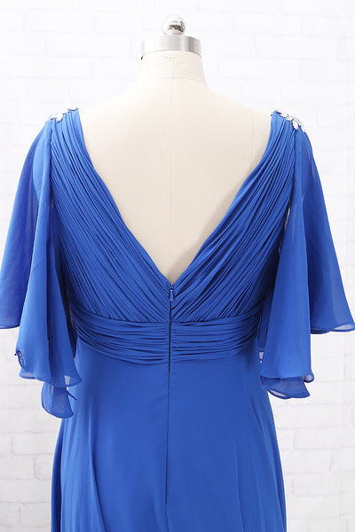 MACloth Short Sleeves V Neck Chiffon Long Mother of the Brides Dress Royal Blue Formal Evening Gown