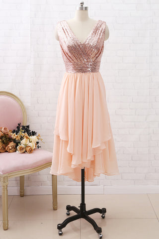 MACloth Straps V neck High Low Sequin Chiffon Bridesmaid Dress Rose Gold Wedding Party Dress