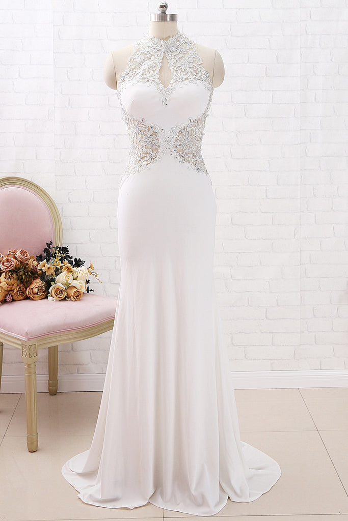 MACloth Mermaid Halter High Neck Lace Jersey Long Prom Dress Ivory Formal Evening Gown