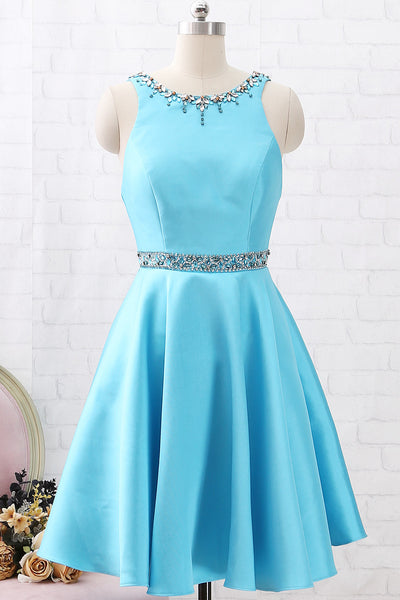 MACloth Straps O Neck with Crystals Short Prom Homecoming Dress Blue Wedding Party Dress