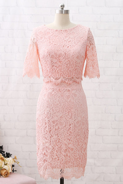 MACloth Short Sleeves Lace Peach Cocktail Dress Knee Length Wedding Party Dress