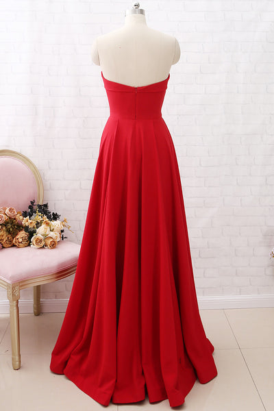 MACloth Strapless Sweetheart Long Prom Dress Red Formal Evening gown with Pockets