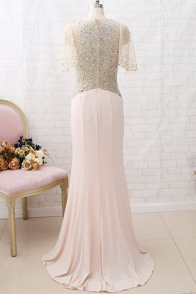 MACloth Short Sleeves with Crystals Sheath Long Prom Dress Jersey Formal Evening Gown