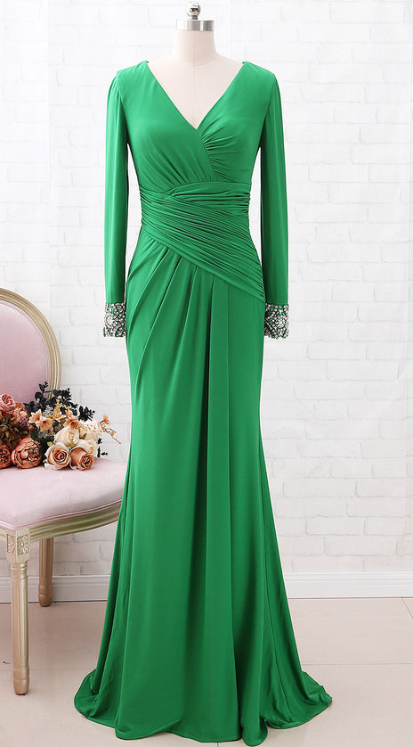 MACloth Long Sleeves V Neck Jersey Long Mother of the Brides Dress Green Formal Evening Gown