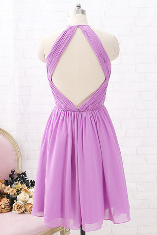 MACloth Halter O Neck Short Bridesmaid Dress Chiffon Wedding Party Dress with Open Back