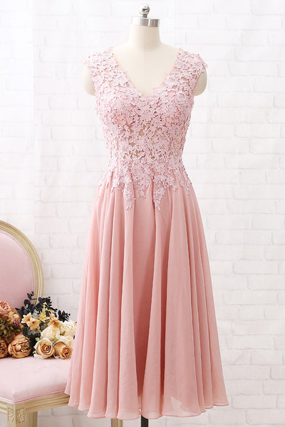 MACloth V Neck Lace Illusion Midi Prom Homecoming Dress Dusty Pink Formal Party Dress