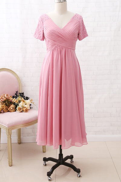 MACloth Short Sleeves V Neck Chiffon Rose Tea Length Mother of the Brides Dress