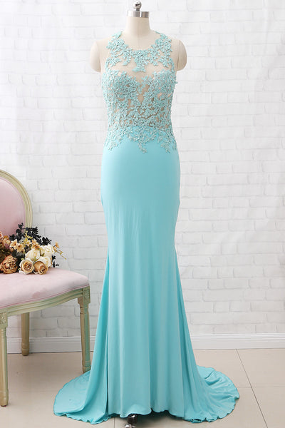MACloth Sheath O Neck Lace Jersey Aqua Long Prom Dress Formal Evening Gown