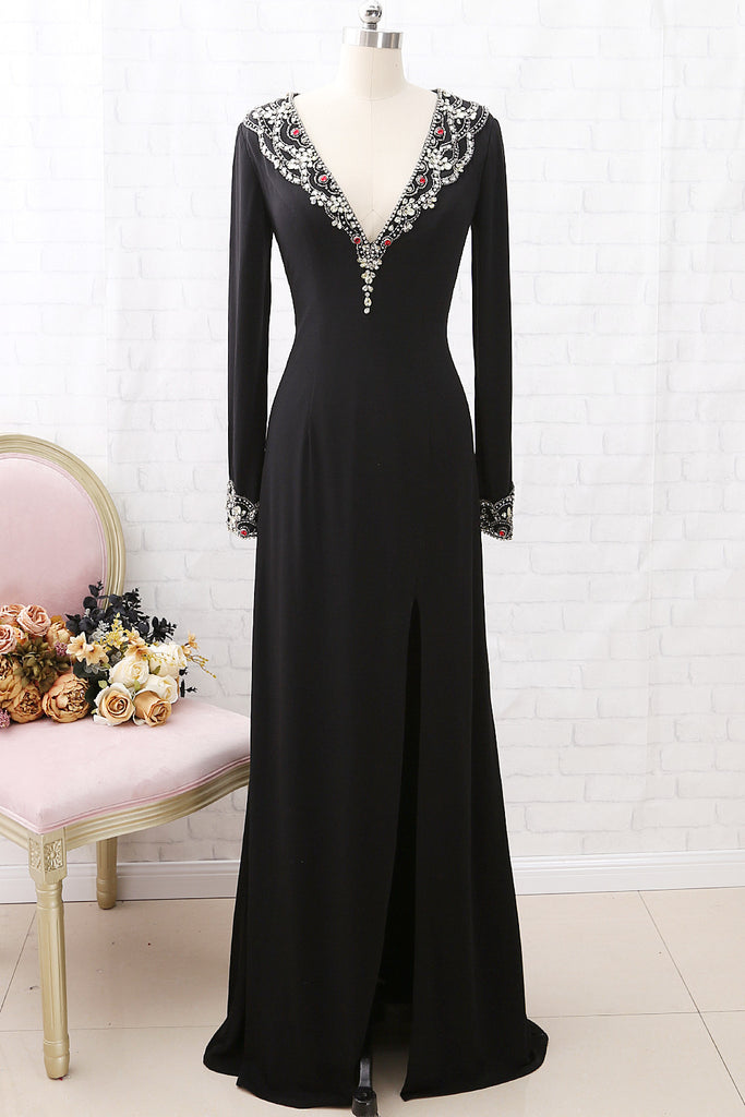 MACloth Long Sleeves Deep V Neck Jersey Formal Evening Dress Black Pageant Gown