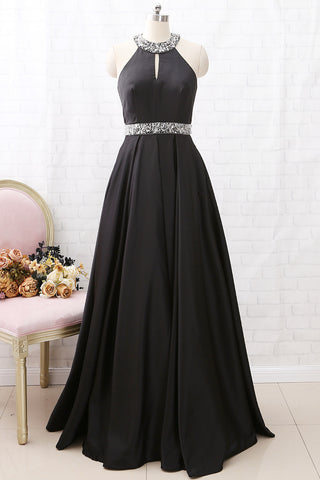 MACloth Halter O Neck with Beaded Long Prom Dress Black Formal Evening Gown