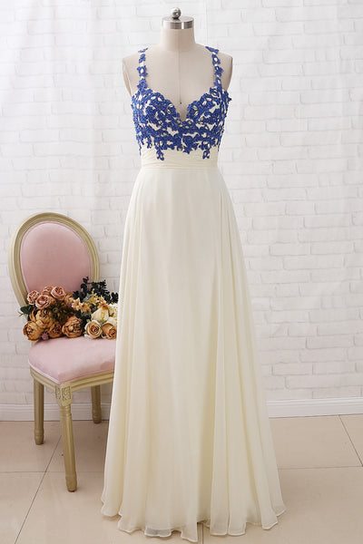 MACloth Straps V Neck Lace Chiffon Long Prom Dress Royal Blue Ivory Formal Evening Gown