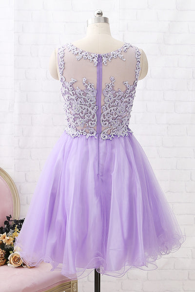 MACloth Straps O Neck Lace Tulle Mini Prom Homecoming Dress Lavender Party Formal Dress