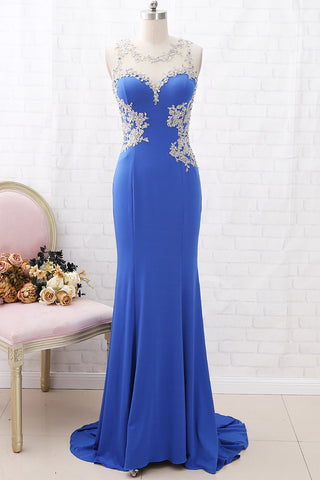 MACloth Mermaid Illusion Lace Jersey Long Prom Dress Royal Blue Formal Evening Gown
