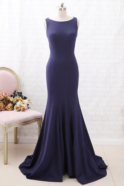 MACloth Mermaid O Neck Dark Navy Formal Evening Gown with Cut out Back