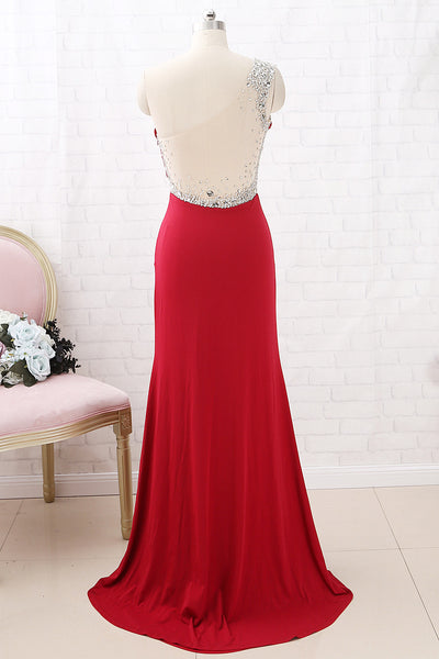 MACloth One Shoulder with Beaded Sheath Long Prom Dress Red Formal Evening Gown