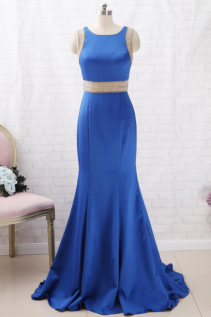 MACloth Mermaid Straps O Neck with Beaded Long Prom Dress Royal Blue Formal Evening Gown