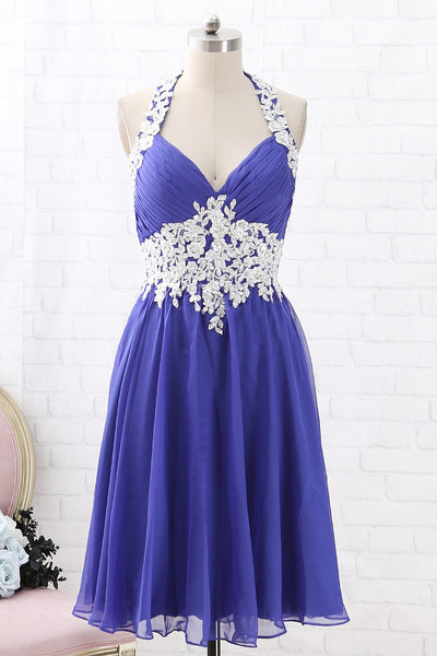 MACloth Halter V Neck Lace Chiffon Short Prom Homecoming Dress Regency Cocktail Dress