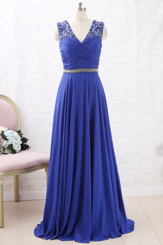 MACloth Straps V Neck with Beaded Chiffon Long Prom Dress Royal Blue Formal Evening Gown