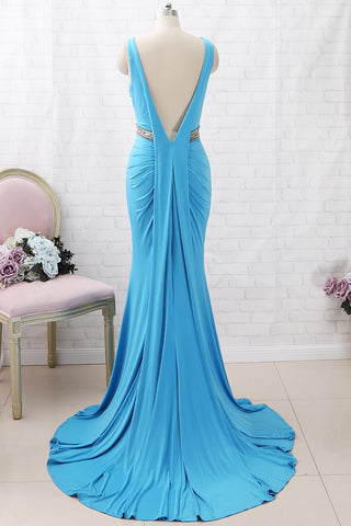 MACloth Mermaid V Neck Jersey Long Prom Dress Blue Formal Evening Gown