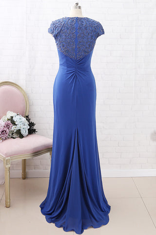MACloth Cap Sleeves Beaded Sheath Maxi Prom Dress Royal Blue Formal Evening Gown