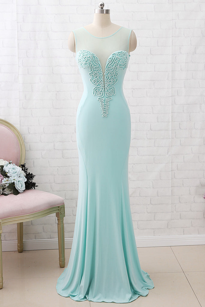 MACloth Sheath O Neck Jersey Mint Maxi Prom Dress Formal Evening Gown