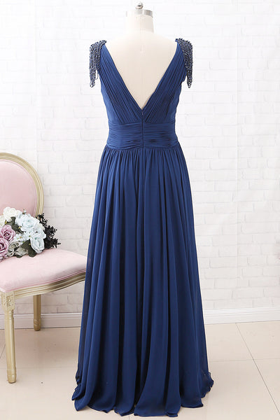 MACloth Cap Sleeves with Beaded V Neck Chiffon Maxi Mother of the Brides Dress Dark Navy Evening Gown