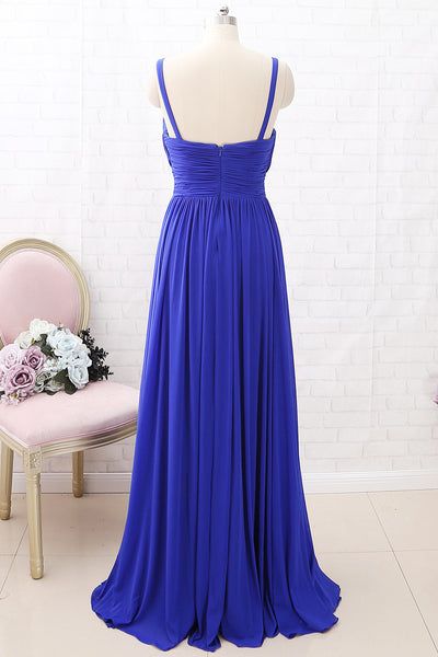 MACloth Straps Deep V neck Jersey Maxi Prom Dress Royal Blue Formal Evening Gown