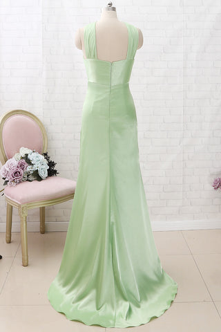 MACloth Halter Sheath Mint Maxi Prom Dress Satin Formal Evening Gown with Slit